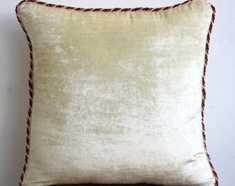 """Pearl Ivory Pillows Cover, 16""""x16"""" Velvet Throw Pillows Cover, Square  Solid Color Beaded Cord Throw Pillows Cover - Pearl Ivory Velvet"""
