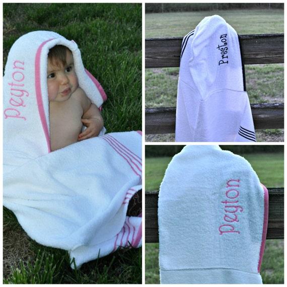 Personalized Hooded Bath Towel-Pool Towel-Monogram Towel-Beach