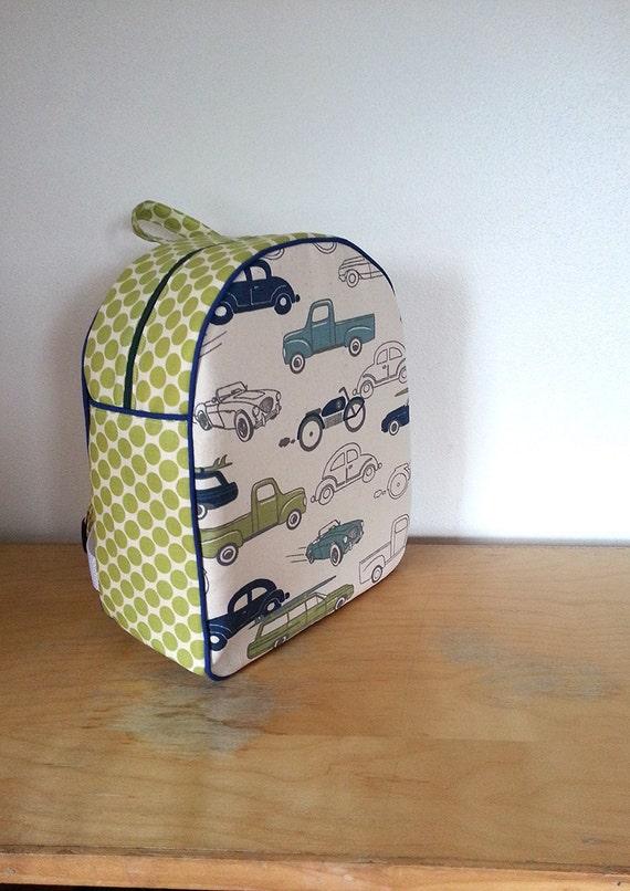 Childrens Backpack, Kids Backpack, Toddler Backpack, Retro Rides