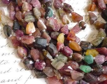 Lots Of Pink Tourmaline  Nugget Beads Rainbow Green Gold Gemstone  Natural