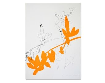 Floral art print, Botanical poster, Scandinavian print, Black & Fluro Orange, Original artwork, Cactus drawing