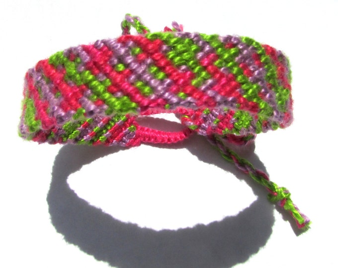 Handmade Friendship Bracelet-Pink, Purple and Green