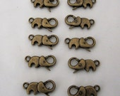 10 Antiqued Bronze Color Elephants Clasps Jewelry Findings