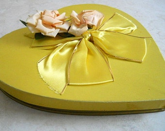 SALE - Vintage Sweetheart Valentine Chocolate Heart Shaped Box Candy Box, I Love You Heart Shaped Container, Silk, Flowers and Yellow Ribbon