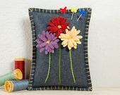 Daisy Pincushion • Purple, Red & Yellow Daisies • Hand Embroidered • Wool Felt • Grey