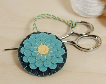 Scissor Fob • Blue Dahlia on Gray Wool Felt • Hand Embroidered • Scissor Charm