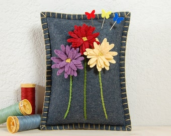 Daisy Pincushion • Purple, Red & Yellow Daisies on Grey • Hand Embroidered • Wool Felt • Pin Pillow