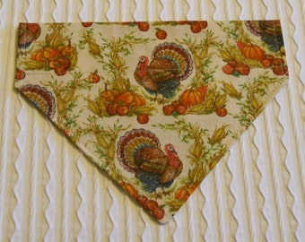 Dog Bandana with Turkeys and Harvest Pumpkins COLLAR Style S to XL