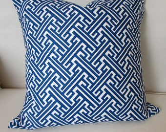 TRELLIS COBALT blue and white Pillow Cover 20x20