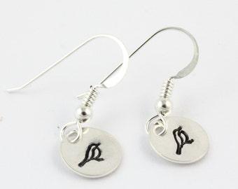Bird Sterling Silver Earrings - Hand Stamped Song Bird Dangle Earrings