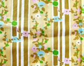Vintage Cotton Fabric with Floral Stripes - Blue and Pink Flowers on Yellow Fabric