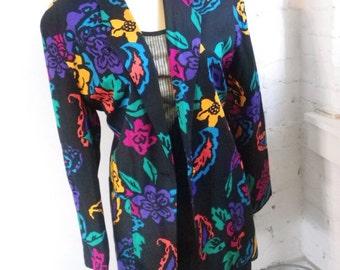 Vintage Black Floral Longline Blazer