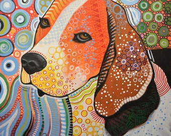 "Dog art print ... Abstract Dog Art ... Rocky the Beagle, 8 1/2"" x 11"" Print of my original dog painting"