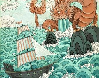 Ocean Source 8x10 fantasy cartology-inspired art print