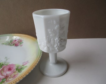 Vintage Westmoreland Paneled Grape Milk Glass Water Goblet