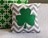 Modern Sparkle Shamrock Pillow Cover - Green sparkle Shamrock on Grey Chevron - 14x14 pillow cover