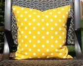 Citrus Yellow and White Ikat Dot - Indoor/Outdoor Pillow Cover
