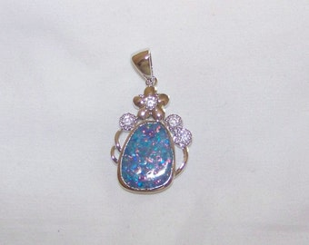 Silver Pendant With Lab Created Opal And White Topaz