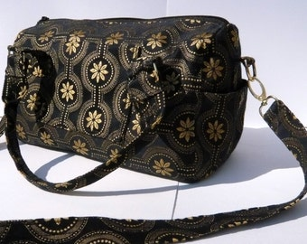 Original Handmade Duffle Style Fabric Purse in Black & Gold