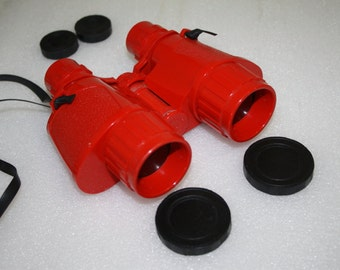 Vintage Red Plastic Non Prismatic Binocular - Made in Italy