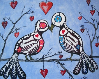 """Day Of The Dead """"Love Birds"""" in a heart tree Multiple Sizes Available Art Print Poster Mexican Folk Artist J Ellison"""