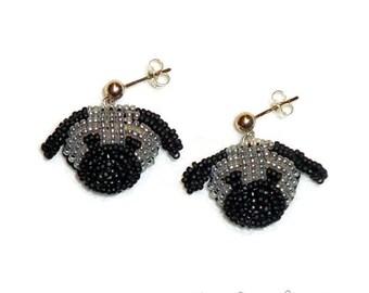 Sale: Beaded GRAY PUG post earrings bead embroidery dog jewelry / Ready to Ship