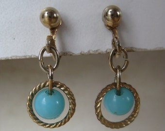 Blue Turquoise Gold Earrings Clip Vintage Dangle