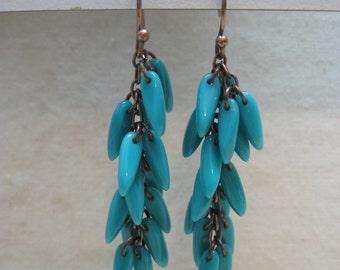 Turquoise Dangle Copper Earrings Pierced Wire Vintage