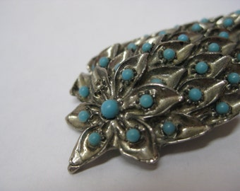 Flower Pod Turquoise Silver Brooch Vintage Pin Blue