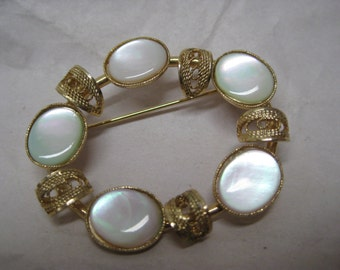 Mother of Pearl Gold Filigree Brooch Vintage Pin