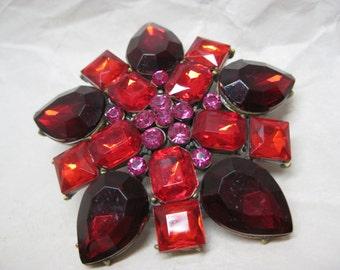 Flower Red Pink Brooch Rhinestone Vintage Pin