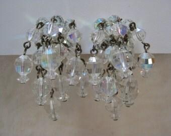 Aurora Clear Earrings Clip Glass Dangle Vintage Laguna