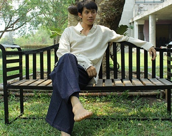 Linen/cotton  men's shirt (5702)/ long sleeve / for men