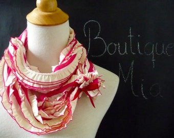 PERFECT GIFT - Infinity SCARF - Ruffle with Velvet Bow - Berry and Cream - by Boutique Mia