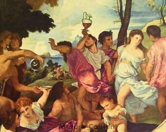 Bacchanal by Titian - a Frameable Vintage 1955 Art Print