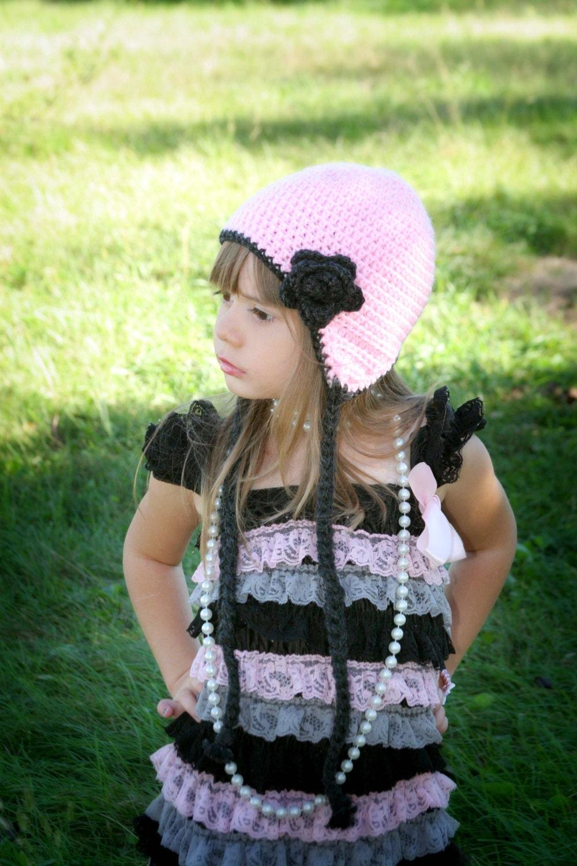 c7243c8ff71 Girls crochet hat - ear flap hat - Toddler hat - Infant hat - Winter ...
