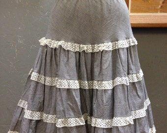 50's gingham crinoline. Black and white.