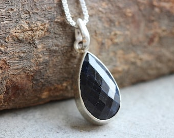Blue Sapphire pendant necklace - Tear drop pendant - Bezel pendant - Faceted gemstone - Chain - Gift for her