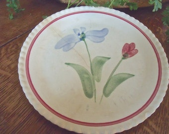 VinTage Bread and Butter Plate-no maker marks-VERY OLD and CHARMING-1 blue and 1 red flower pattern