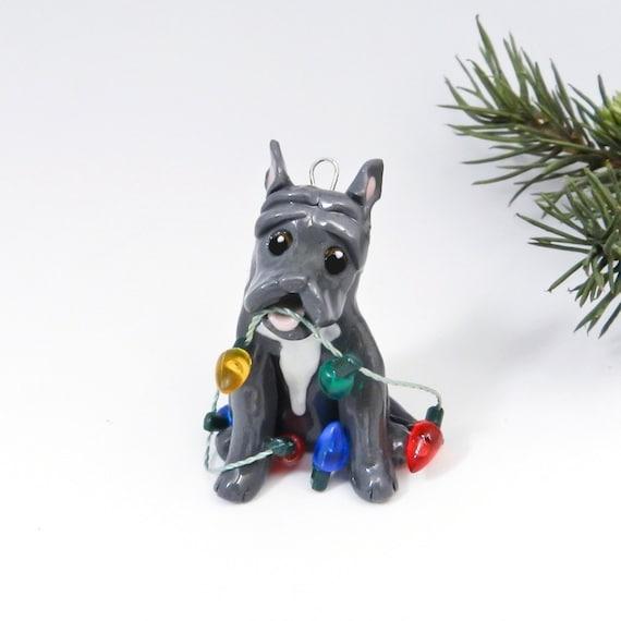 PitBull BlueNose Christmas Ornament Figurine Lights Porcelain
