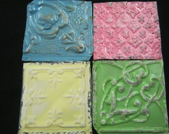AUTHENTIC Tin Ceiling Set of 4 Tile Panel 6x6 Art Crafters Projects S1567-13