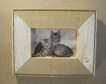 Reclaimed Wood 4x6 Picture Frame Single Photo Two Tone S1712-13