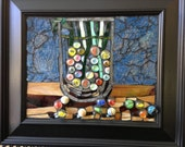 Stained Glass Framed Wall Decor Vase with Marbles Glass on Glass