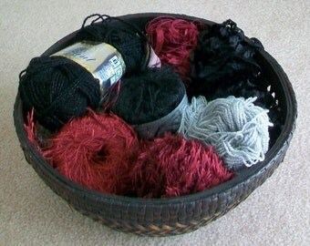 Fun Yarn Grab Bag for Scrapbooking, Kumihimo and Gift Wrapping Projects in Black Maroon Wine Burgundy Silver  - destash by foxygknits