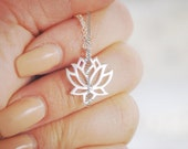 Renge Necklace - Solid Sterling Silver Lotus Flower Charm Pendant - Free Domestic Shipping