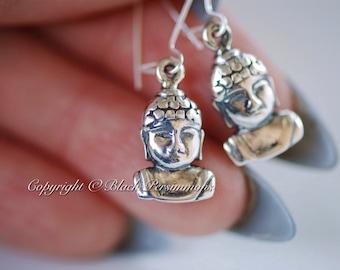 Shakyamuni Buddha Earrings - Sterling Silver Gautama Buddha Auspicious Feng Shui Charms - Insurance Included