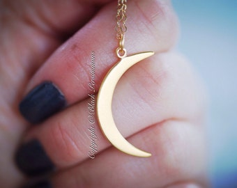 Moon of My Life Necklace - Large 24k Gold Plated Sterling Silver Vermeil Crescent Moon 14K Gold Filled Chain - Free Domestic Shipping