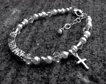 Baptism/First Communion  Name Bracelet-CHARM INCLUDED- freshwater pearl, sterling silver