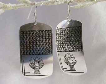 Sale Save Were 11.00 Bali Style Boho Gypsey  925 Sterling Silver Overlay Earrings Mosaic Charms DM06