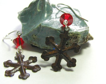 Red Crystal Snowflake Rustic Winter Earrings Sterling Silver Swarovski Crystal